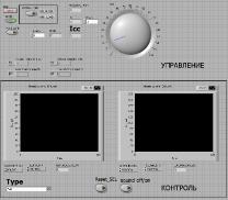 Внешний вид приборной панели программы в LabView для управления и контроля микросхемы ADUC841